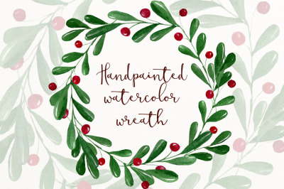 Christmas watercolor wreath