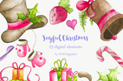 Christmas Clip Art Holiday Watercolor Decoration