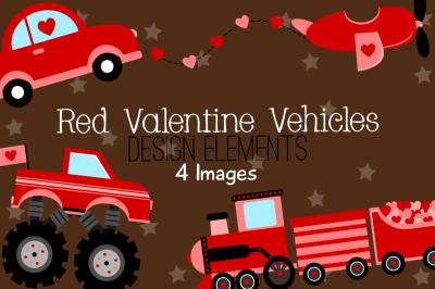 Red Valentine Vehicles Design Elements, Clipart