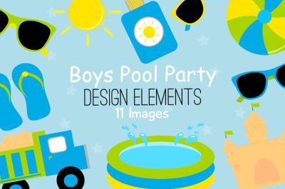Boy Pool Party Design Elements, Clipart