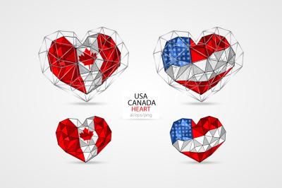 USA/American flag. CANADA. HEART.