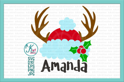 Deer antlers Christmas svg, antlers Santa hat svg, Holly berry svg, antlers Santa hat iron on, Santa hat monogram svg, Antlers Christmas svg