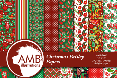Paisley Digital Papers, Shabby Chic, Vintage Christmas Papers, Red and Green Floral Pattern Scrapbooking Papers, AMB-1462