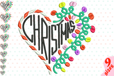 Christmas Heart Embroidery Design Machine Instant Download Commercial Use digital file icon symbol sign cute xmas ornaments light balls Santa's ball magic xmas love 145b