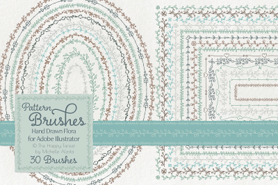 Pattern Brushes for Illustrator – Hand Drawn Flora – Flower Floral Brush Patterns