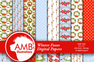 Christmas digital paper, Winter fox papers, Winter papers, White fox papers, Arctic fox pattern, commercial use, instant download, AMB-2302