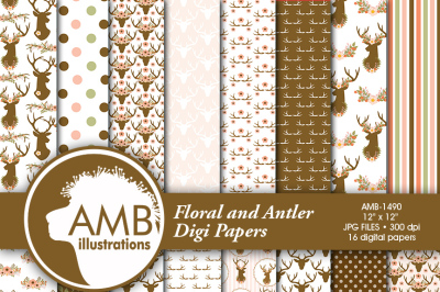 Shabby Chic Floral and Antler paper, floral Digital Papers, wedding paper, floral pattern, scrapbook paper, AMB-1490