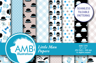 Baby boy patterns, Baby shower paper, nursery boy paper, onesies paper, baby boy birthday papers, baby boy papers, AMB-1295