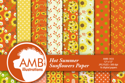 Sunflower digital papers, Floral papers, Sunflower scrapbook papers, Red and Yellow Floral Papers, Commercial use, AMB-1433