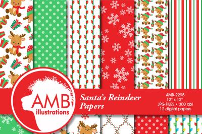 Christmas Digital Paper, Christmas Reindeer paper, Reindeer Papers, Rudolf the Red Nosed Reindeer Patterns, AMB-2295