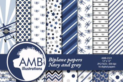 Airplane patterns, Biplane papers, Navy and Gray, Plane papers, AMB-2321