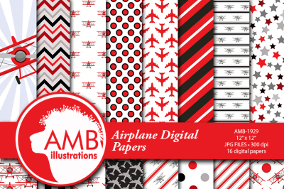 Airplane papers, Biplane papers, Red and Black, Boy papers, Plane papers, AMB-1929