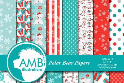 Christmas digital paper, Polar Bear papers, Winter papers, White bear papers, Polar bear pattern, AMB-2275