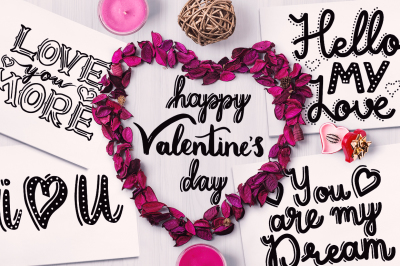 Valentine's Day - Lettering & Cupid