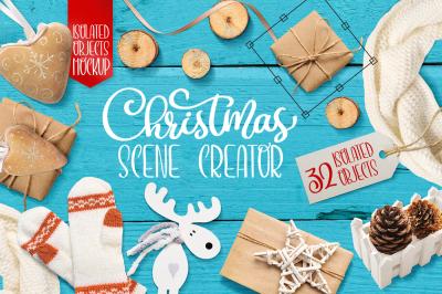 Christmas scene creator, isolated items