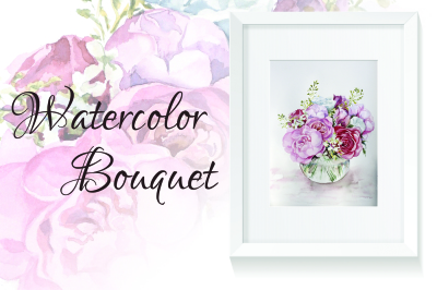 Watercolor peones bouquet
