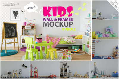 Kids Wall & Frames Mockup - BUNDLE