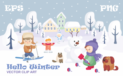 Hello Winter. Vector clip art.