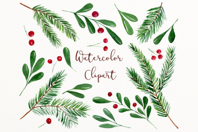 Watercolor winter clip art