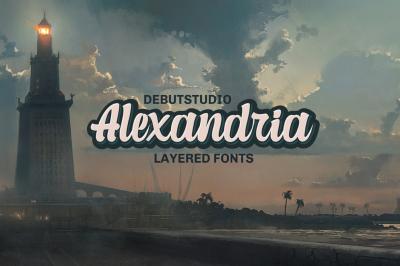 Alexandria Script - 4 Layered Fonts (50% OFF)