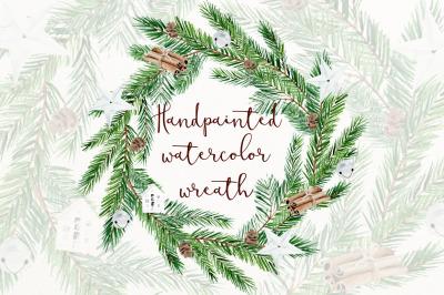 Scandinavian watercolor wreath