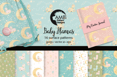 Baby llamas patterns, paper, backgrounds, AMB-2267