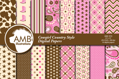 Cowgirl style surface design, patterns AMB-1974