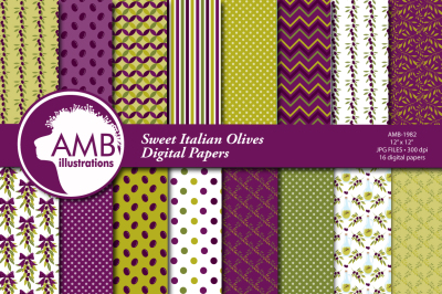 Sweet Italian Olives surface design, pattern, papers AMB-1982