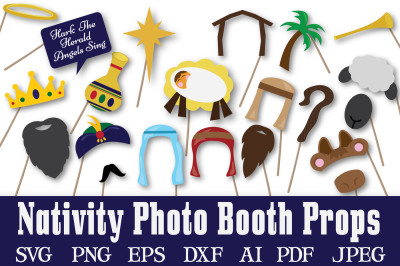 Christmas Nativity Photo Booth Props -  SVG Cut File - DXF - PNG - JPEG - PDF - EPS - AI