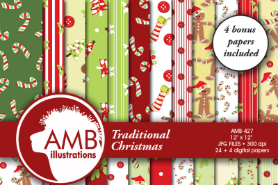 Traditional Christmas patterns and papers AMB-427