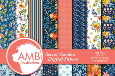 Secret Garden pattern and papers AMB-1835