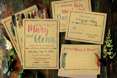 Feather Watercolor Wedding Invitation Suite