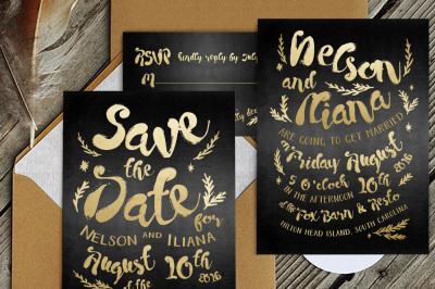 Black & Gold Hipster Wedding Invitation Suite
