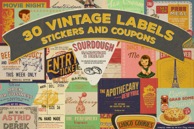 30 Vintage Label, Sticker and Coupon