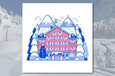 Winter Ski Resort or Mountain Hotel