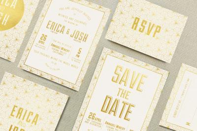 Elegant Geometric Wedding Invitation Suite