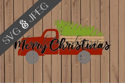 Merry Christmas Truck Cut File SVG JPEG