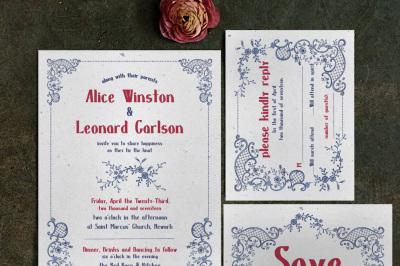 Embroidery Wedding Invitation Suite