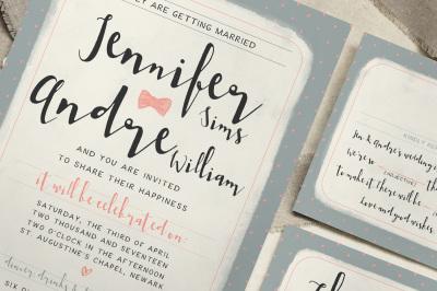 Sweet Polka Dots Wedding Invitation Suite