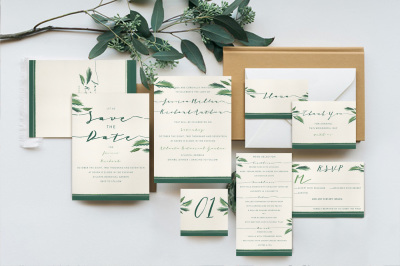 Classy Tropical Wedding Invitation Suite
