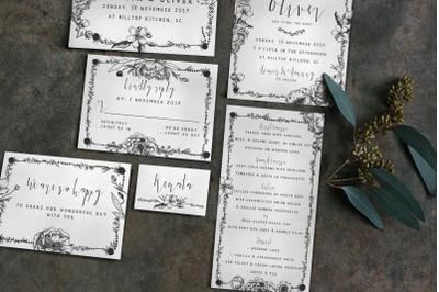Elegant Flower Wedding Invitation Suite