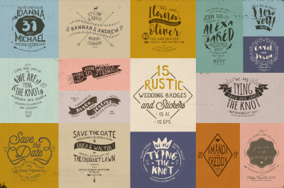 15 Rustic Wedding Badges & Stickers
