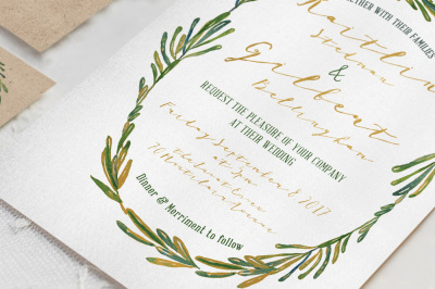 Elegant Wreath Wedding Invitation Suite
