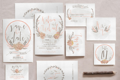 Wreath & Flower Wedding Invitation Suite