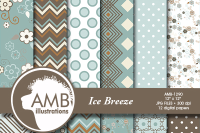 Masculine patterns, papers in soft icy teals AMB-1290