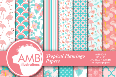 Flamingo Patterns, Floral patterns, Tropical Papers, Pink Flamingo , AMB-1043