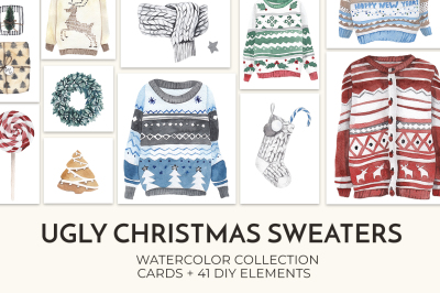 SALE! Watercolor Ugly Christmas Sweaters
