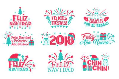 Happy new year spanish set