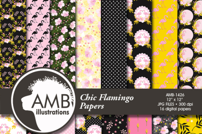 Flamingo Patterns, Floral Papers, Tropical  AMB-1426