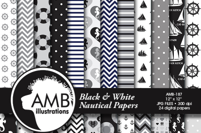 Nautical patterns, Coastal papers in black, Nautical papers,  AMB-187